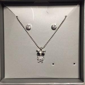 Owl Pendant Necklace w/ Stud Earrings